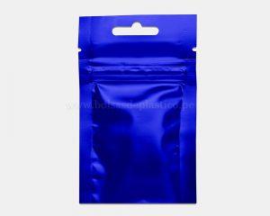 Bolsa de tres lados azul con cierre de 3 g