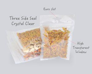 Ultra claro bolsa de sellado de tres lados